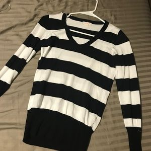 White and Black Stripped Sweater Shirt